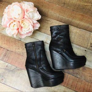 Leon Max Wedge Platform Brown Boots